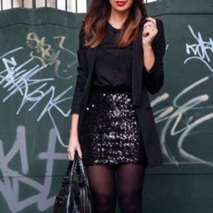 White House Black Market Black Sequin Mini Skirt